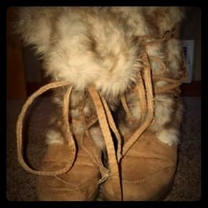 Leather fur wedge boots